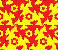 Jaune de modèle abstrait et floral et rouge sans couture Le modèle est sans couture des formes de répétition de différentes coule illustration libre de droits