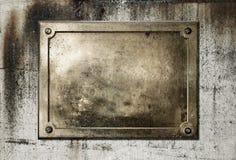 jaune de plaque métallique en laiton de cadre photos stock