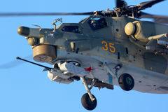 JAUNE du mil Mi-28N 35 de l'Armée de l'Air russe chez Chkalovsky Images stock