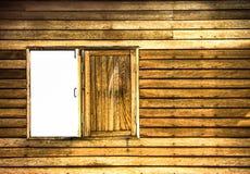 Jaune en bois de mur de fenêtre image stock