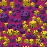 Jaune et Violet Dice Seamless Pattern Illustration de Vecteur
