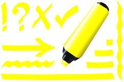 Jaune fluorescent de marqueur illustration stock