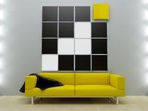 jaune moderne de type d'intérieurs de conception de divan