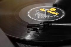 Jaune noir record de LP de vinyle Images stock