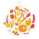 Jaune-rouge coloré divers des légumes en cercle Collecte d'automne Produits du marché de ferme illustration libre de droits