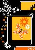 Jaune sur la carte de voeux noire de guindineau Images stock