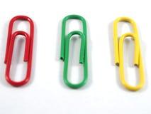 Jaune vert rouge de colur d'agrafe Photographie stock libre de droits