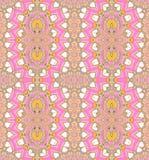 Jaune violet de rose ovale sans couture abstrait d'ornements Photographie stock libre de droits
