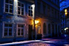 Jauniela street: Riga. Jauniela street at night: Old town of Riga; Latvia Stock Photo