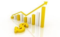 Jaunissez le dollar et le graphique Photo stock