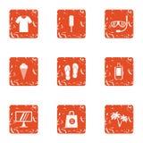 Jaunt icons set, grunge style. Jaunt icons set. Grunge set of 9 jaunt vector icons for web isolated on white background Stock Photography