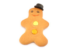 Jaunty Hat. Gingerbread man with a bowler hat set at a jaunty angle. Focus is on face and hat stock photos