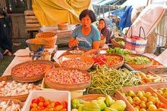JAVA,印度尼西亚- 2016年12月18日:卖vegetab的销售妇女 库存图片