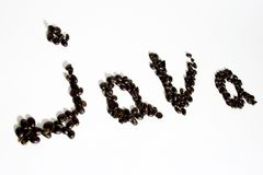Java beans. The word java spelled out in beans Stock Photos