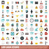 100 java icons set, flat style Royalty Free Stock Image