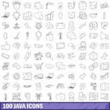100 java icons set, outline style. 100 java icons set in outline style for any design vector illustration Stock Illustration