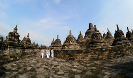 The temple of Borobudur on Java in Indonesia Royalty Free Stock Photos