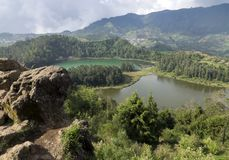Java, Indonesia. Telaga Warna-color volcanic lakes on the plateau Diyeng royalty free stock images