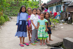 JAVA, INDONESIA - 28th december 2016: Local kids in a village on Stock Image