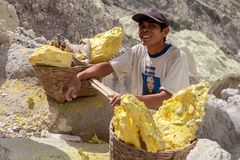 Java/Indonesien - Maj 8, 2015: Svavelgruvarbetare in fotografering för bildbyråer