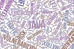Java, conceptual word cloud for business, information technology or IT. Java, IT, information technology conceptual word cloud for for design wallpaper, texture Royalty Free Stock Photos