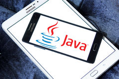 Java logo. Logo of java company on samsung mobile phone.Java is a general-purpose computer programming language Stock Images