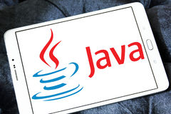 Java logo. Logo of java on samsung tablet. Java is a general-purpose computer programming language Royalty Free Stock Photos