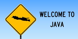 Java map on road sign. Wide poster with Java island map on yellow rhomb road sign. Vector illustration stock illustration