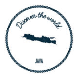 Java map in vintage discover the world insignia. Stock Image