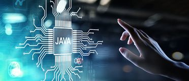 Java programming language application and web development concept on virtual screen. Java programming language application and web development concept on royalty free stock images