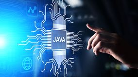 Java programming language application and web development concept on virtual screen. Java programming language application and web development concept on stock photography