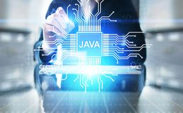 Java programming language application and web development concept on virtual screen. Java programming language application and web development concept on royalty free stock photos