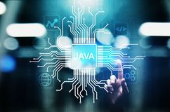 Java programming language application and web development concept on virtual screen. Java programming language application and web development concept on stock photos