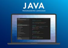 Java programming language. Learning concept on the laptop screen code programming. Command line interface with flat design and gradient purple background vector illustration