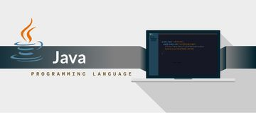 JAVA programming language with script code on laptop screen, programming language code illustration.  vector illustration