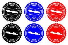 Java rubber stamp. Java - rubber stamp - vector, Java map pattern - sticker - black, blue and red stock illustration