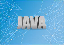 Java script 3d sign over a blue abstract tech. Background Stock Image
