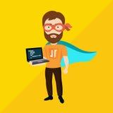 Java Script Specialist como super héroe Fotos de archivo libres de regalías