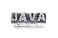 Java sign, antique metal letter type Royalty Free Stock Image