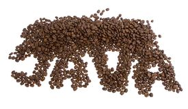 JAVA spelled with coffee beans Royalty Free Stock Photo