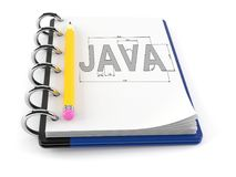 Java text on notebook. Isolated on white background royalty free illustration