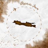 Java watercolor island map in sepia colors. Discover Java poster with airplane trace and handpainted watercolor Java map on crumpled paper. Vector illustration royalty free illustration