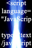 Javacript. Javascript on a blue and black background Royalty Free Stock Photos
