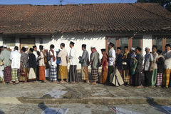 JAVANESE ETHNIC OF INDONESIA. Javanese Muslims are shaking hands after Eid Prayer in Banjarnegara, Java, Indonesia. Javanese are an ethnic group native to the Royalty Free Stock Photography