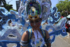 Javanese girl. With heroine trasitional costume on a carnival in Boyolali, Central Java, Indonesia Stock Image