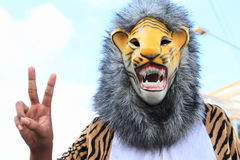Javanese mask of tiger. Called Singo Edan from East Java - Indonesia Stock Photos