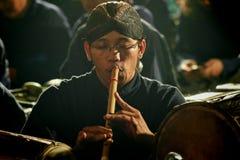 Javanese mens van de bamboefluit Royalty-vrije Stock Afbeelding