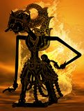 Javanese puppet fire. One of the good figure in the javanese puppets call Gatotkaca Stock Photography