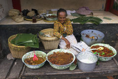 Yogyakarta City, Java, Indonesia,  food vendor selling gudeg Royalty Free Stock Image