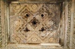 JAVARI-TEMPEL, Mandapa - Plafond, Oostelijke Groep, Khajuraho, Madhya Pradesh, Unesco-de Plaats van de Werelderfenis royalty-vrije stock foto